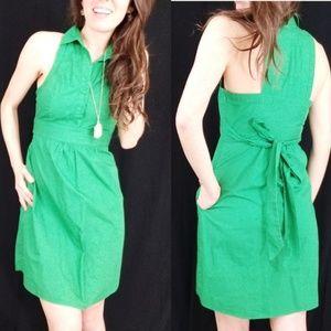Mauve green halter pocket dress -E2